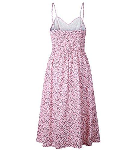 Bohemian Strap Button Pink Down Printed Dress Midi AEL Dresses Swing Women for Women's Dress Spaghetti YH1Eg