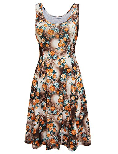 Tom's Ware Womens Stylish Floral Sleeveless Skater Dress TWCWD150-ORANGEBROWN-US - Stylish Most Dresses