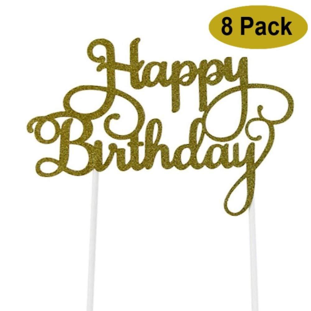 Happy Birthday Cake Topper.8 Pack Happy Birthday Cake Topper First Birthday Cupcake Topper Glitter Gold Decoration