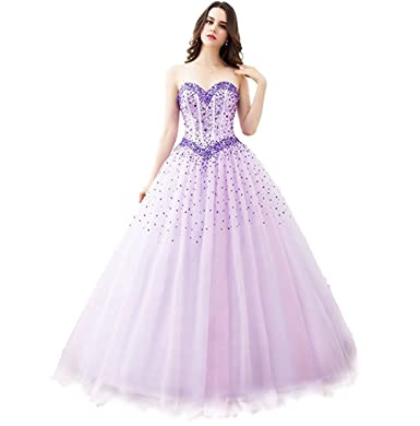 Victoria Prom Sweetheart Floor Length Tulle Ball Gown Prom Dress Purple us2