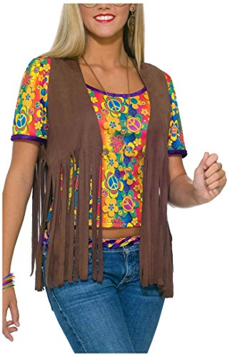 Forum Novelties Women's 60's Hippie Vest Costume Accessory, Brown, One Size -