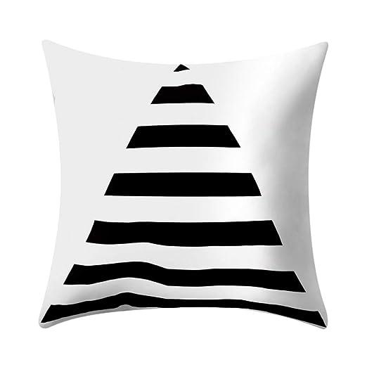 Duokon 45 cm Blanco y Negro Raya geométrica Cuadrado Funda ...