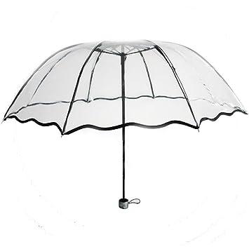 LEYIJU Paraguas Transparentes, Paraguas Plegables Retráctiles, Paraguas De Viaje para Mujeres, Niñas,