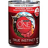 #5: Purina ONE SmartBlend True Instinct Tender Cuts in Gravy With Real Beef & Wild-Caught Salmon Adult Wet Dog Food - Twelve (12) 13 oz. Cans