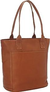 Piel Leather XL Laptop Tote Bag, Saddle