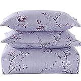 TIFFICO Duvet Cover Set Queen Size - 3 Pieces Floral Microfiber Soft Lightweight Down Duvet Comforter Quilt Bedding Covers with Zip Ties - 90x90 inch for Women Men, Light Grey