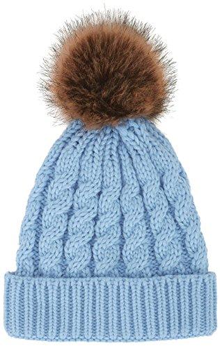 Women's Winter Soft Knitted Beanie Hat with Faux Fur Pom Pom, Light (Light Blue Pom Pom)