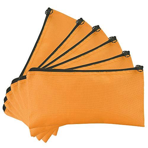 Coin Zipper Vinyl (DALIX Zipper Bank Deposit Money Bags Cash Coin Pouch 6 Pack in Orange)
