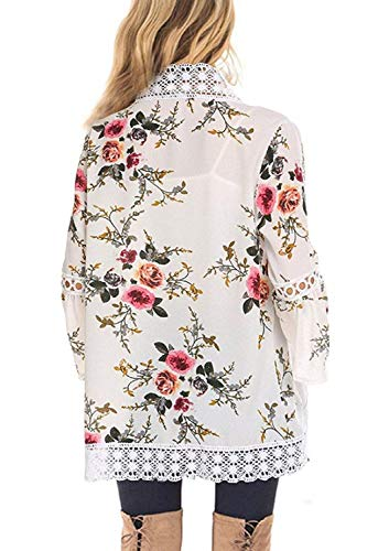 Chunoy Women Casual Floral Bell Sleeve Lace Trim Open Front Kimono Blouse Top