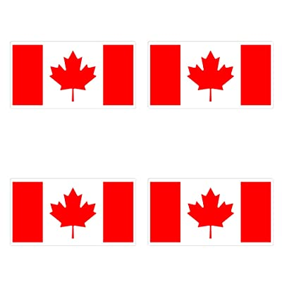 dealzEpic - Canada Flag - Self Adhesive Peel and Stick Vinyl Decal/Car Bumper Sticker - 3.94 x 2.13 inches | Pack of 4 Pcs : Office Products