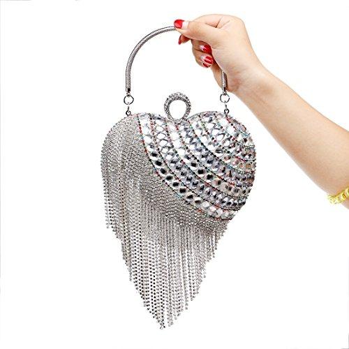 Diamante lusso borsa della Night L'oro sacchetto di di Argento di Lady Clutch Via nappa Notte Houyazhan Club colore di banchetto cZg6RcP