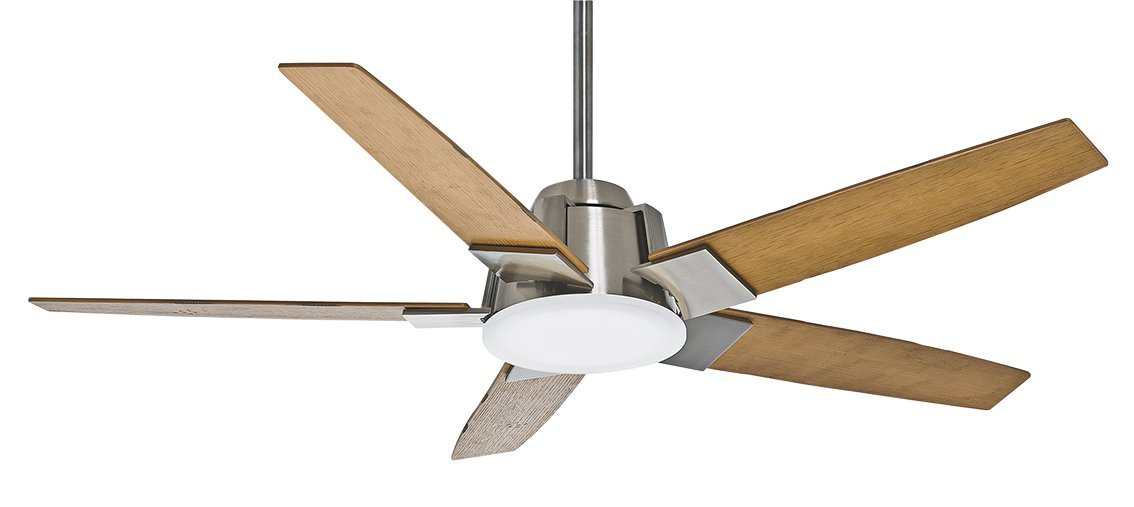 Casablanca Fan Company 59109 Zudio 56-inch Brushed Nickel Ceiling Fan with reversible Walnut/Burnt Walnut Blades and Clear Frosted Glass Light