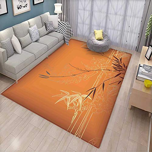 Orange Bamboo Rug - Bamboo Kids Carpet Playmat Rug Bamboo Branches and Flowers Illustration in Vivid Color Eastern Nature Theme Door Mats for Inside Non Slip Backing Orange Gold Brown