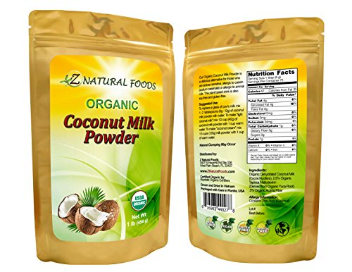 Z Natural Foods - Organic Coconut Milk Powder - Kosher, Vegan, Fresh, Gluten Free, All-Natural, Dairy Free, Non-GMO, Keto, Paleo Diet Friendly (1 lb) ()