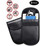 Tensun Car Key Signal Blocker Case RFID Key Fob Keyless Blocking Pouch Bag Cage Wallet for Privacy Protection Security WiFi/GSM/LTE/NFC/RF Block (2-Pack Black)