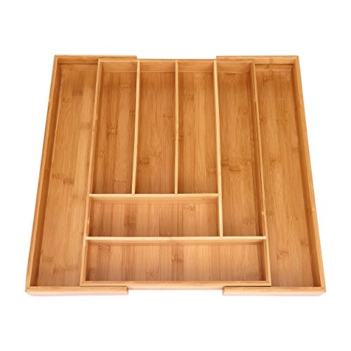 Miko Bamboo Expandable Kitchen Drawer Organizer - Multi Purpose - Cutlery (Multi Purpose Drawer)
