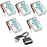 HOBBYTIGER 3.7V 800mAh Lipo Battery 25C ( 5PCS ) + 5 in 1 Battery Charger for SYMA X5SW X5SW-1 X5C-1 X5SC CX30W RC Quadcopter