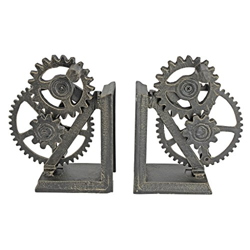 (Design Toscano Industrial Gear Steampunk Decor Bookends, 15 Inch, Set of Two, Cast Iron, Bronze Finish)