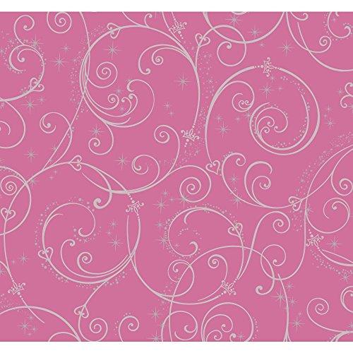 York Wallcoverings Walt Disney Kids II Perfect Princess Scroll Wallpaper Memo Sample, 8-Inch x 10-Inch, Dark Pink/Silver (Glitter Walt Disney)