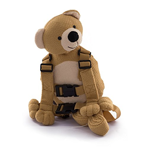 Berhapy 2 in 1 Monkey Toddler Safety Harness Backpack Children's Walking Leash Strap (Yellow bear)