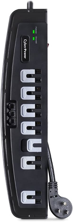 CyberPower CSP708T Professional Surge Protector + TEL Protection, 1650J/125V, 7 Outlets, 8ft Power Cord