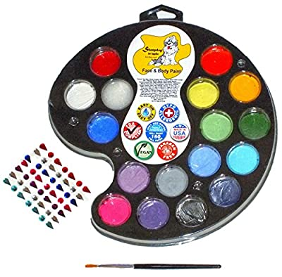 FACE PAINTING KIT 16 Vibrant Colors - MADE IN THE USA - Safe Vegan Non-Toxic PLUS FREE BONUS Artist's Brush and 49 Count Peel and Stick Gems to Accent your Face Painting