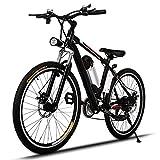 Wakrays 26″ Folding 6 Speed Mountain Bike Sport Cycling Disc Brakes Bicycle (Black 3)