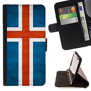 KingStore / Leather Etui en cuir / HTC One M8 / Nacional bandera de la nación País Islandia