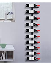 Yaheetech Wijnrek, flessenhouder, flessenrek, opbergrek voor aan de muur, van metaal, 10 flessen, zwart