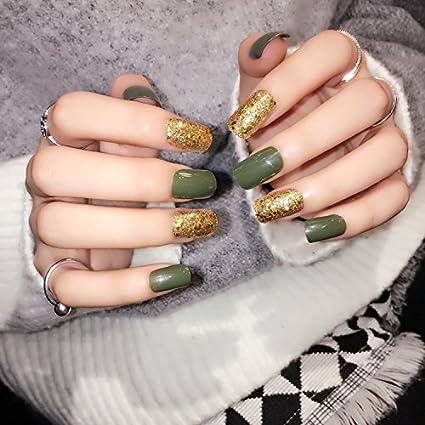 yunail verde oscuro 24 uñas postizas oro paillette belleza medio largo uñas arte