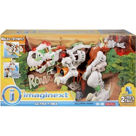 Kids Fisher-Price Imaginext+Ultra T-Rex in White, Makes
