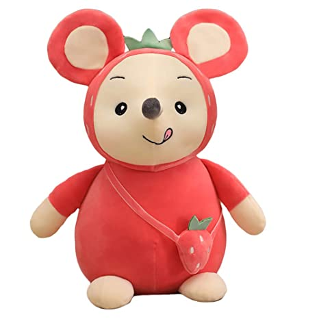 ACHICOO Cute Plush Toy Count Money Mouse Gift Rat Year Mascot Red Strawberry 45 cm