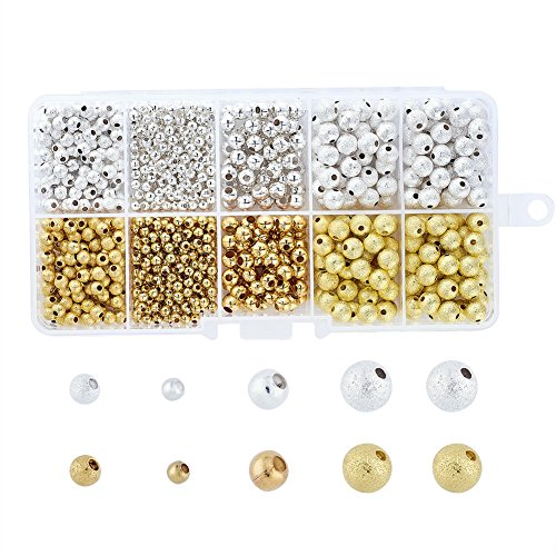 (Pandahall 1Box/990pcs Assorted Size 4~6mm Mixed 2 Colors Golden Silver Brass Ball Stardust Beads & Iron Seamless Round Spacer Beads for Jewelry Makings)