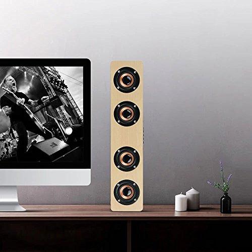 3D Wireless Bluetooth Subwoofer Wood Speaker, elcfan Portable Stereo Sound Bar for Desktop, Laptop,PC, TV, Home Theater - Light Brown by elecfan (Image #5)