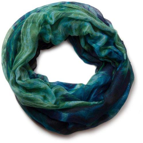 styleBREAKER Flammen Muster Batik Style Loop Schlauchschal 01018041, Farbe:Aqua-Grün-Blau