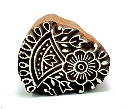 Designer Wooden Craft Block Floral Pattern Traditional Indian Block Stamp