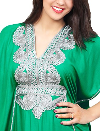 Moroccan Caftan Handmade Light Weight Cotton Silver Hand Embroidery Breathable Soft Green by Moroccan Caftans (Image #1)