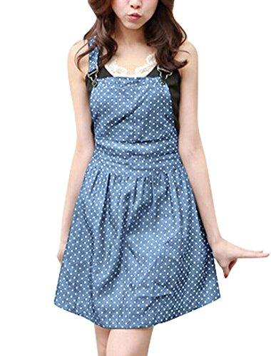 Allegra K Women Dots Pattern Denim Overall Dress XL Light Blue