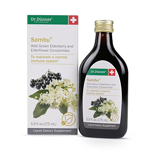 Dr.Dünner Sambu Black Elderberry Syrup, 5.9 fl oz - Plus Elderflower for Immune Support, Non-GMO