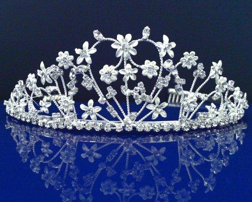 SC Bridal Wedding Tiara Crown With Flowers 46496 by SparklyCrystal