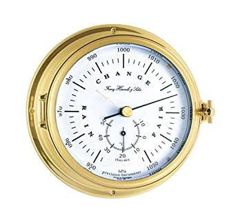 Schiffsuhren-Design Hermle Thermometer Barometer Messing poliert 900093-00040