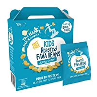 The Happy Snack Company Roasted Fava Beans, Lightly Salted Flavour Snacks for Kids, Lunchbox Friendly Snacks, High Protein, Low Sugar, Nut and Gluten Free, School Snacks,15g portion, Pack of 30