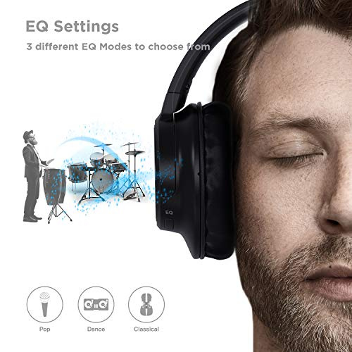 Bluetooth Headphones, Letscom Wireless Headphones Over Ear with 3 EQ Sound Modes, Hi-Fi Sound, 45H Playtime for Travel Work TV PC Cellphone – Black