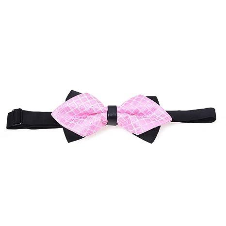 SODIAL(R) Corbata de mono para hombre Cuadricula rosado Doble capa ...