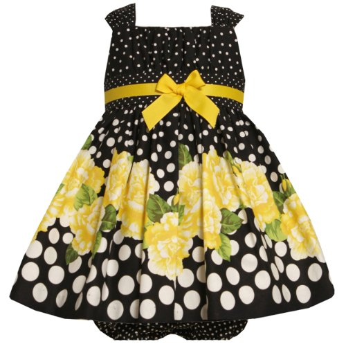 Bonnie Jean Baby/INFANT 12M-24M 2-Piece YELLOW BLACK WHITE GRADIENT DOTS and ROSES BORDER PRINT Special Occasion Flower Girl Easter Party Dress