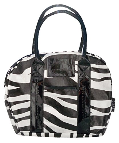 Mini Bowler Lunch Bag - Insulated Purse Tote, Zebra Pattern