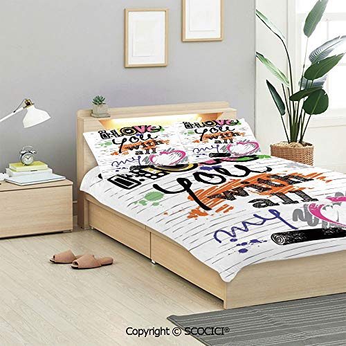 SCOCICI I Love You Bedding Sets (1 Duvet Cover 2 Pillow Shams) I Love You with All My Heart Grunge Sketchy Notebook Style Childish Couples Decorative Duvet Cover Sets for Kids/Twin/Single All Seasons