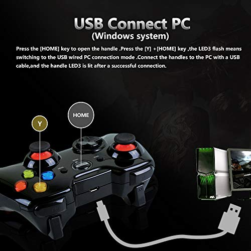 LHIABNN Portable Gaming Joystick Handle Gaming Controller,Bluetooth  Wireless Gamepads with Dual-Vibration Compatible with  Device/Windows/Android