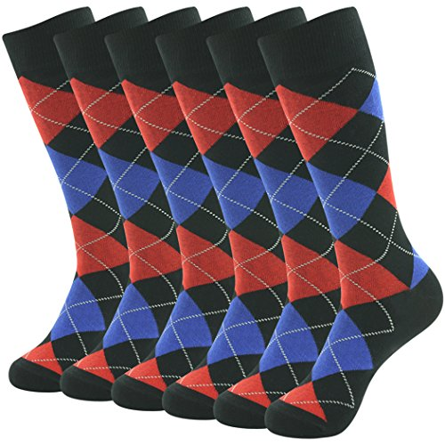 SUTTOS Men's Youth Crazy Fancy Fun Bright Color Argyle Diamond Sharp Big Tall with Non-binding Top Long Tube Dress Novelty Socks for Groomsmen,6 ()