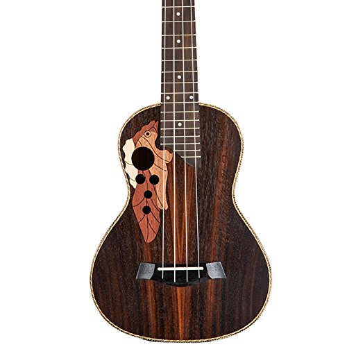 HOT SEAL 23 in Creative Cute Engraving Ukulele Handmade Carving Dapper Beginners Concert Uke with Free Case (23 in, Grapes Rose Wood) (Grape Carving)